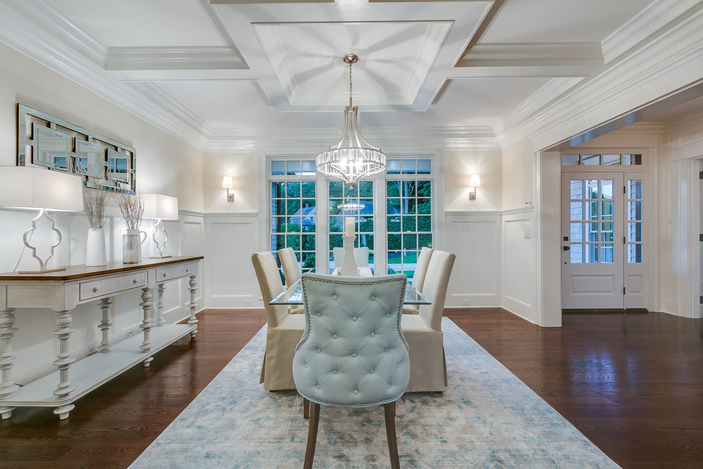 Dining room with white wainscotting