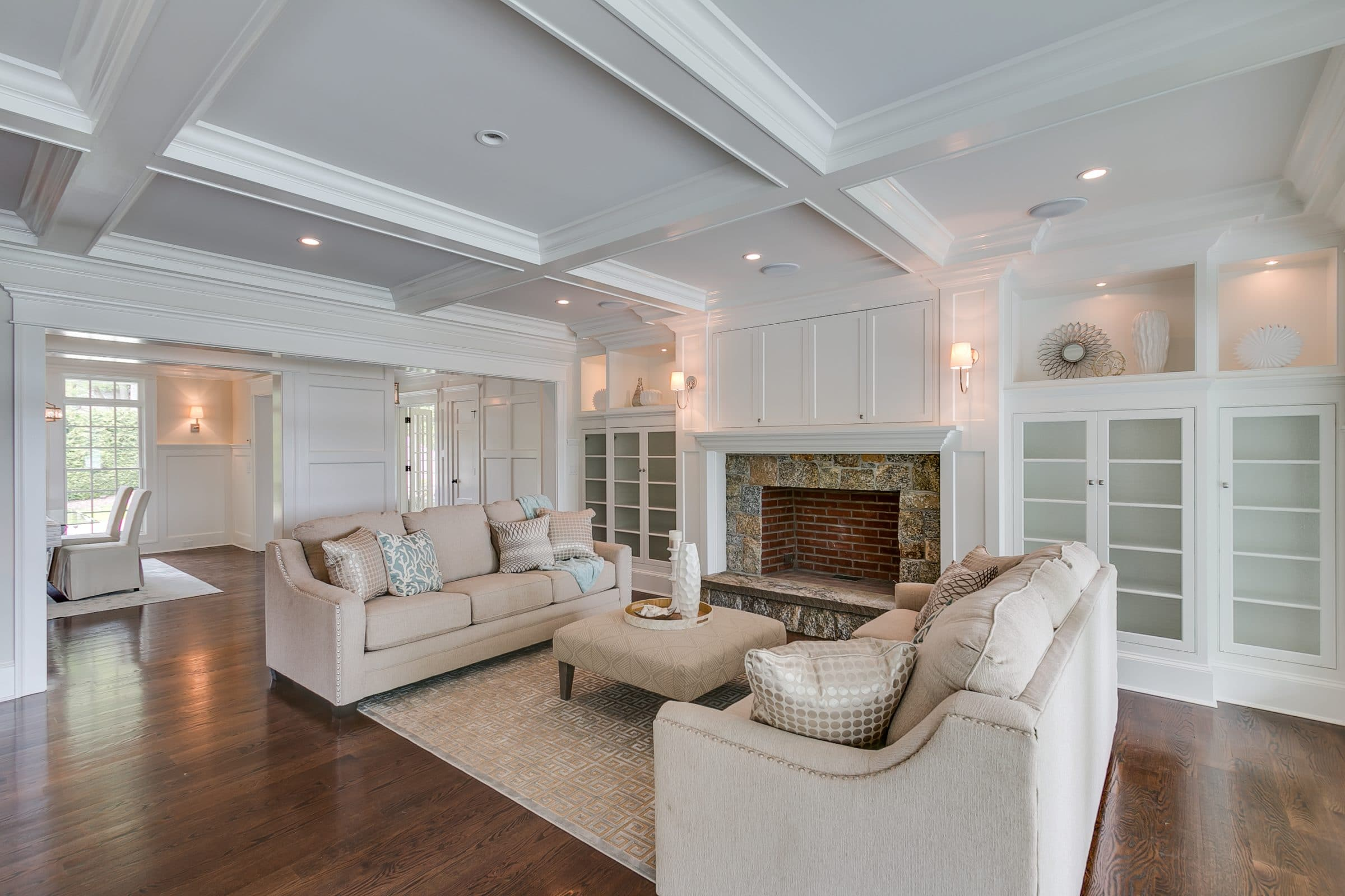Living Room with custom white woodwork