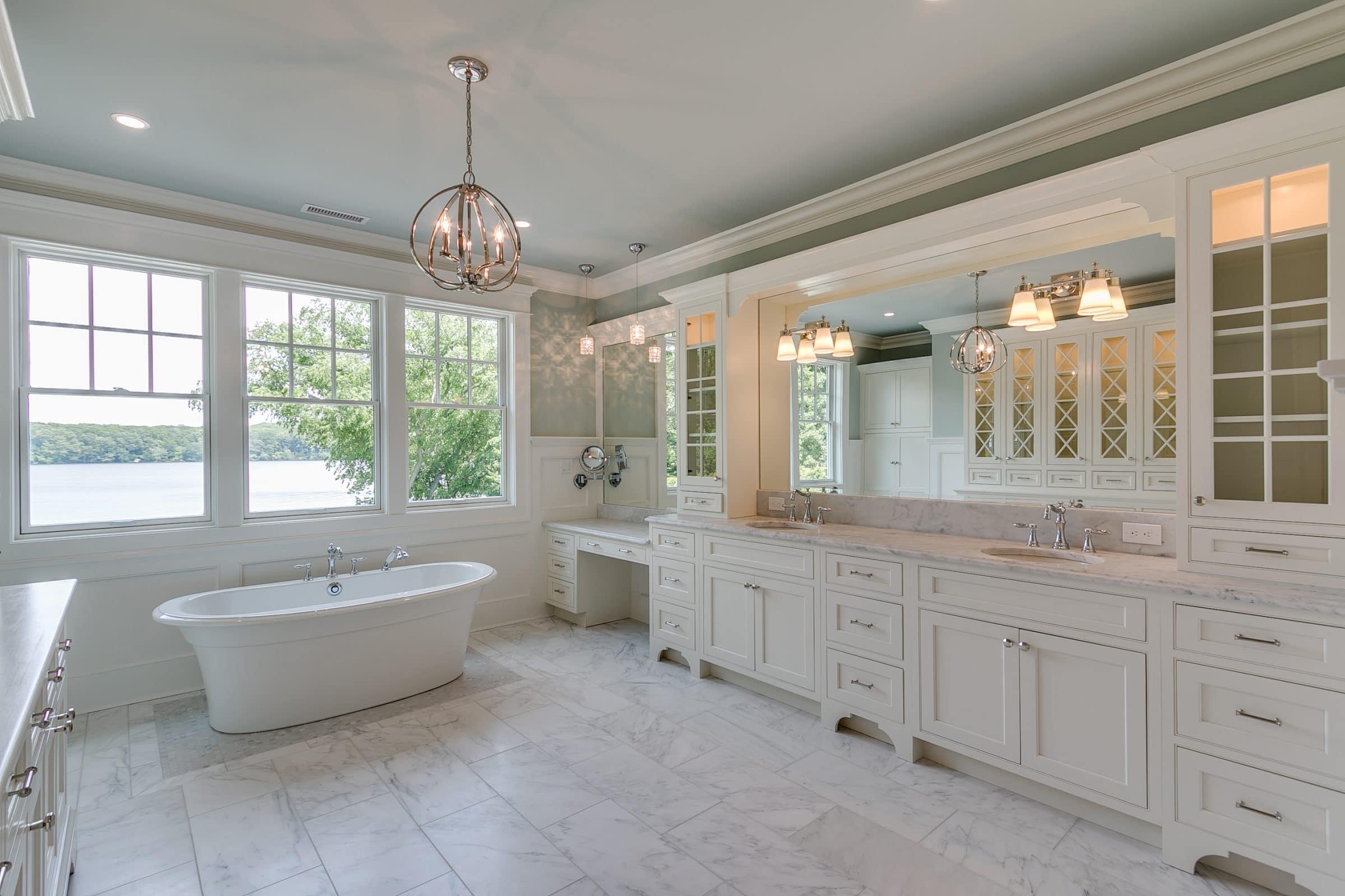 custom bathroom cabinets blue walls white cabinets